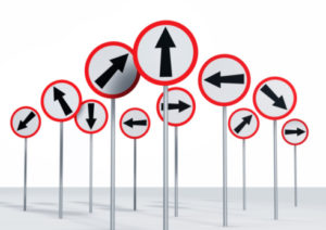 Directional Signs on a Signpost on White Background
